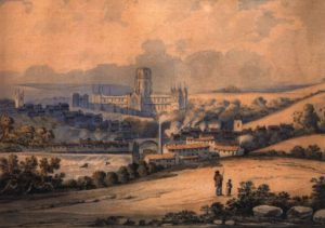 2017 card: A view of Durham from the north-west
