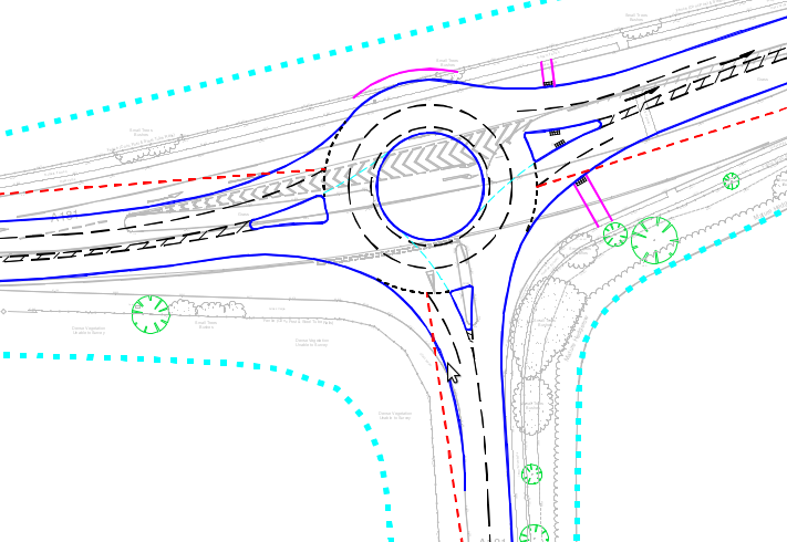 Plan showing proposed new roundabout