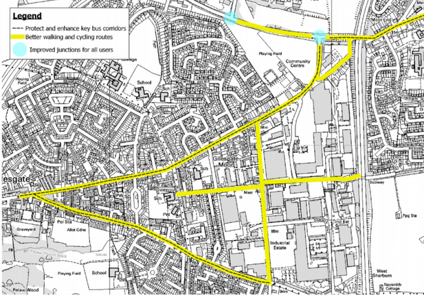 map from Durham City Sustainable Transport Delivery Plan