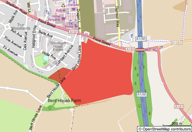 Map showing the development site location